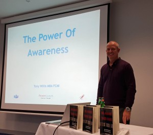 Tony Willis presenting to a business audience in Luxembourg, Europe